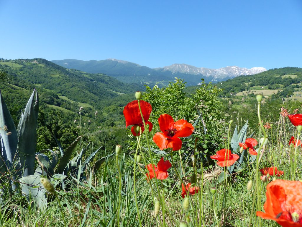 Uitzicht Rocca di Sotto, voorjaar, Gran Sasso